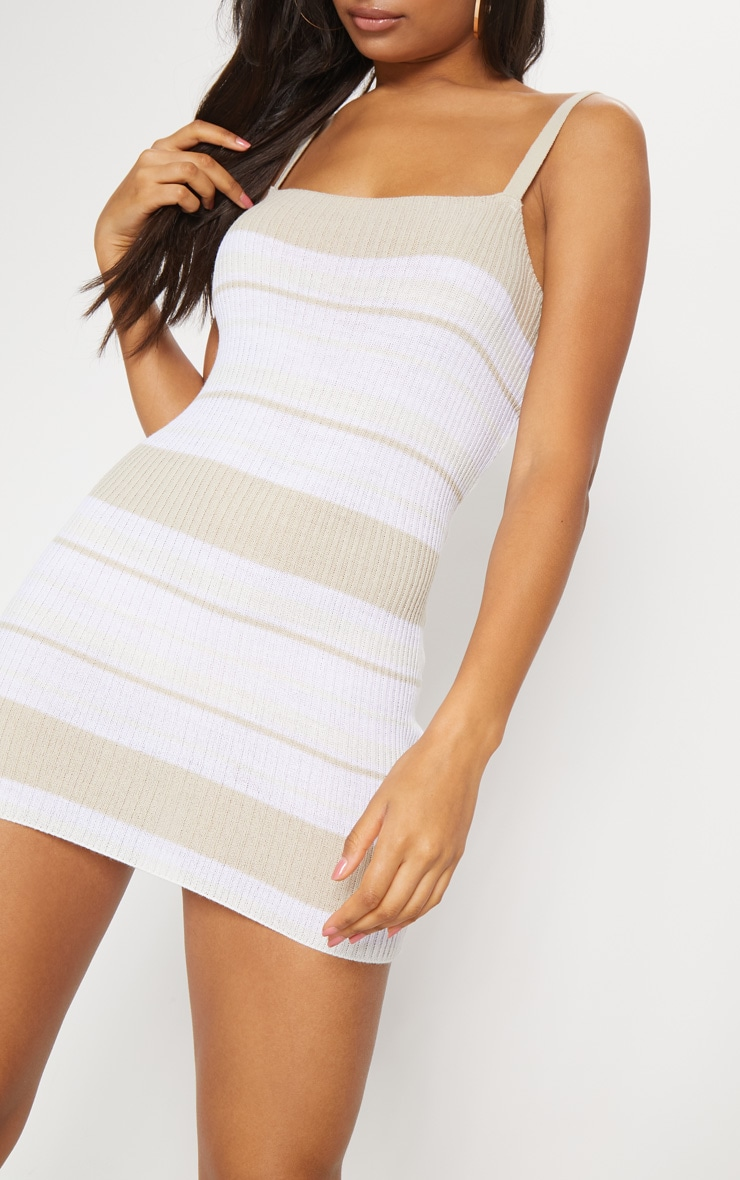 Stone Rib Knit Straight Neck Stripe Dress 5
