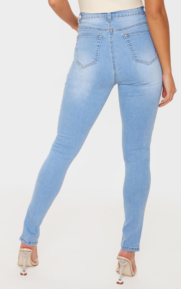 Petite Light Blue Wash Split Front Skinny Jean 4