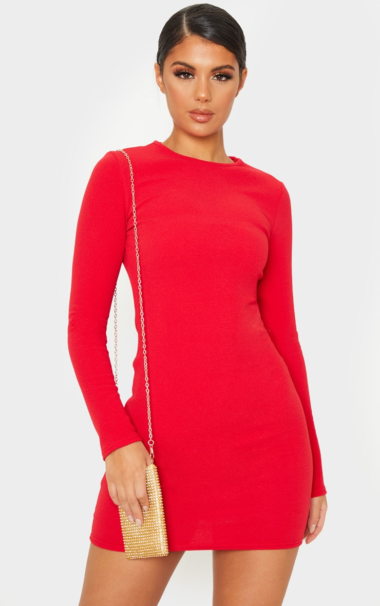 Red Long Sleeve Bodycon Dress 1