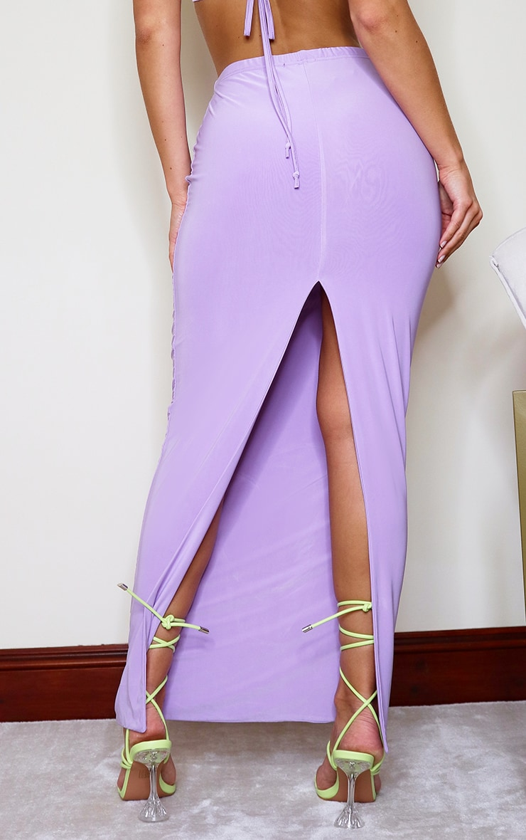 Jupe longue slinky lilas fendue à l'arrière 3