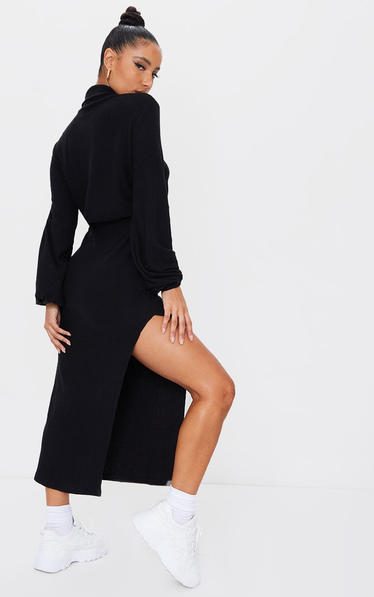 Black Brushed Rib Roll Neck Slit Detail Midi Dress 2