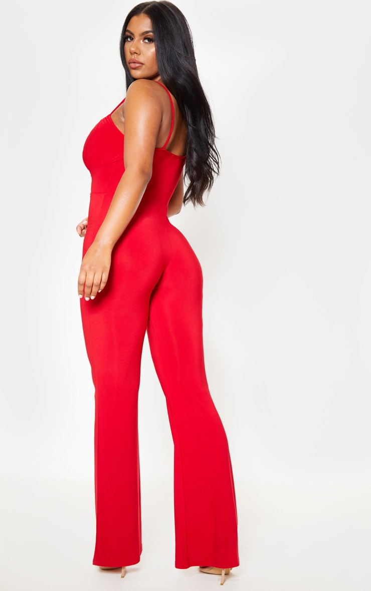 Red Strappy Ruched Detail Wide Leg Jumpsuit 2
