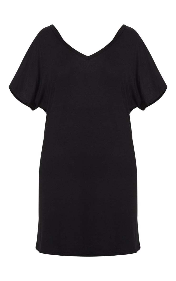 Basic Black V Neck T Shirt Dress 3