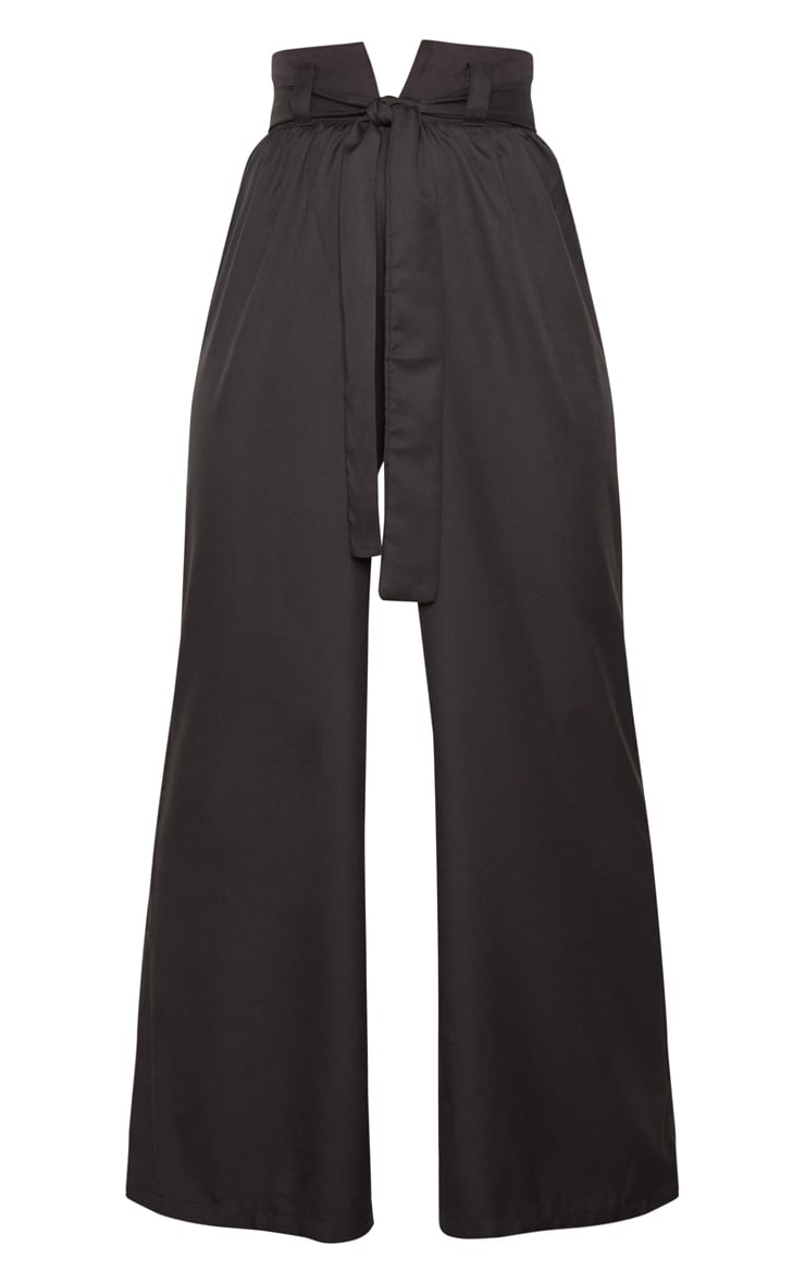 Black Cotton High Waisted Belt Detail Trousers 3