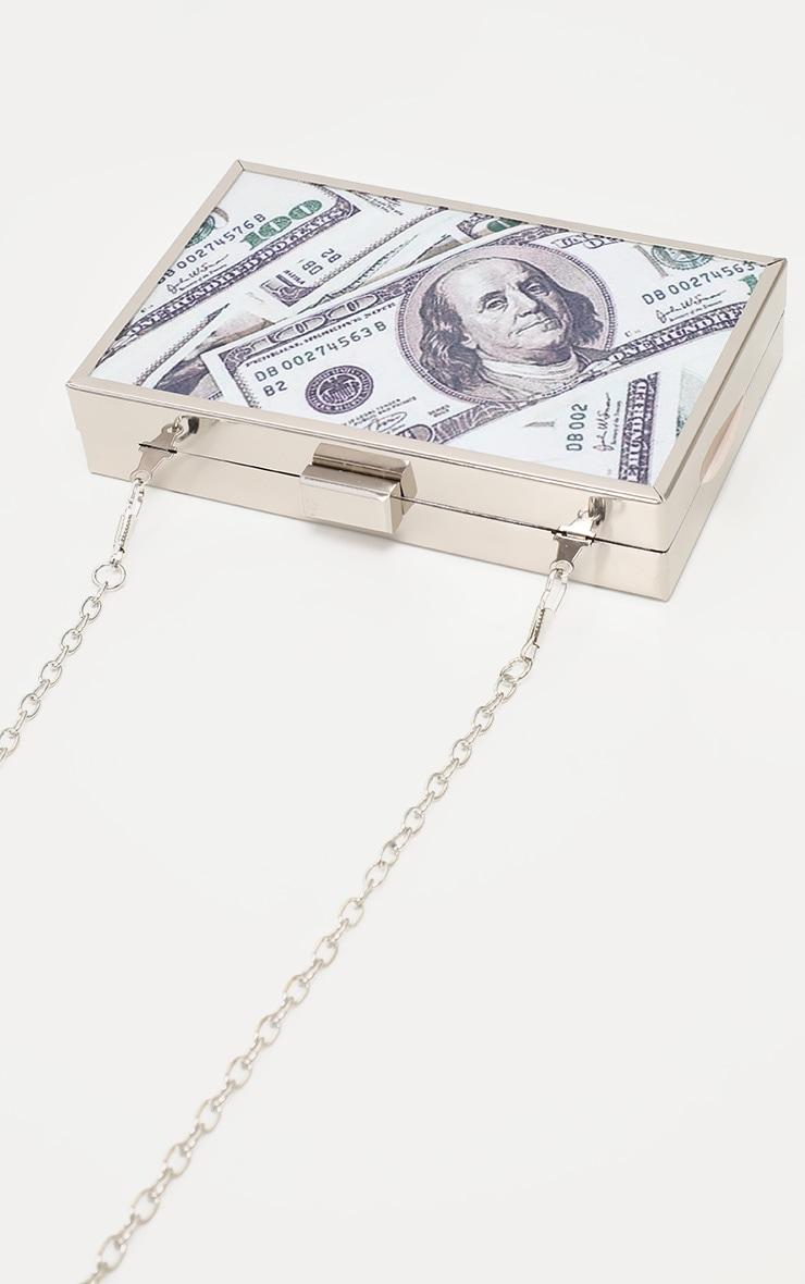 Silver Money Print Square Clutch  3