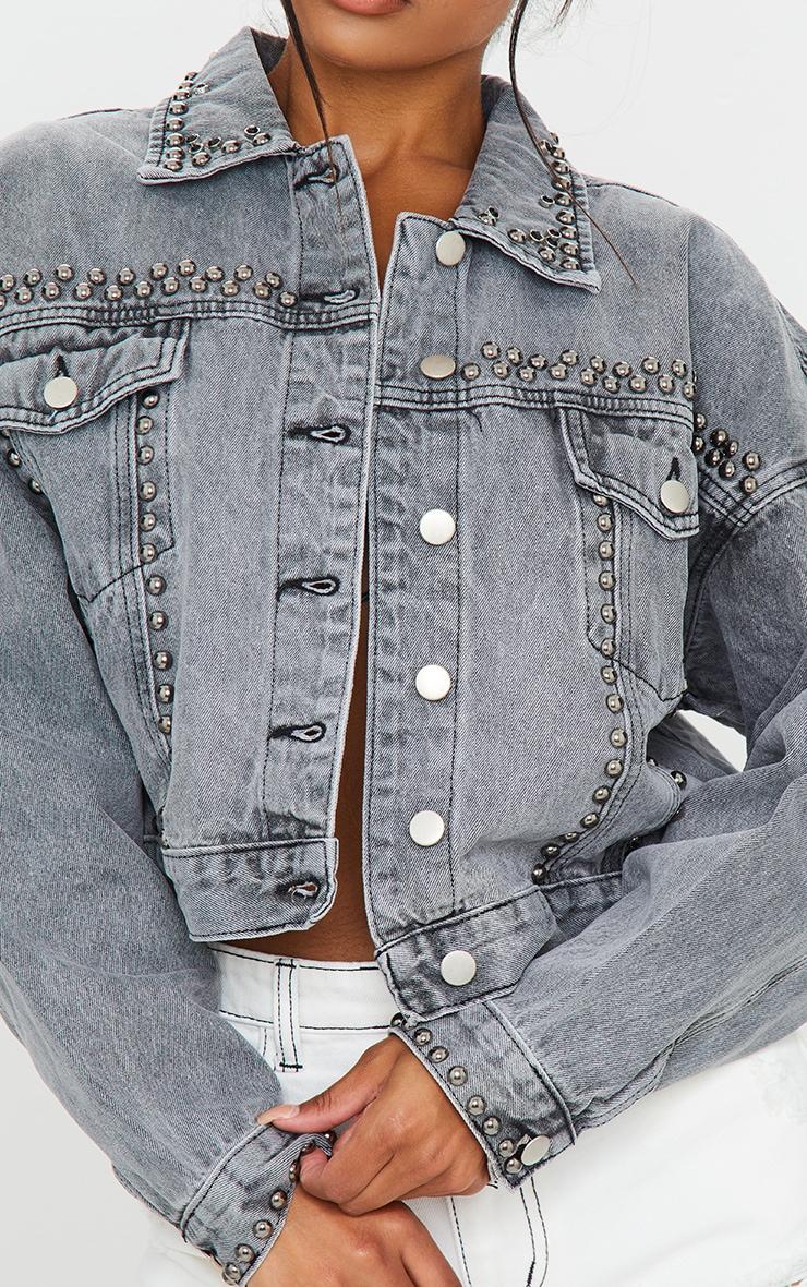 Washed Grey Studded Oversized Denim Jacket 4