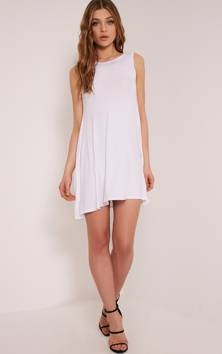 Basic White Sleeveless Swing Dress 5