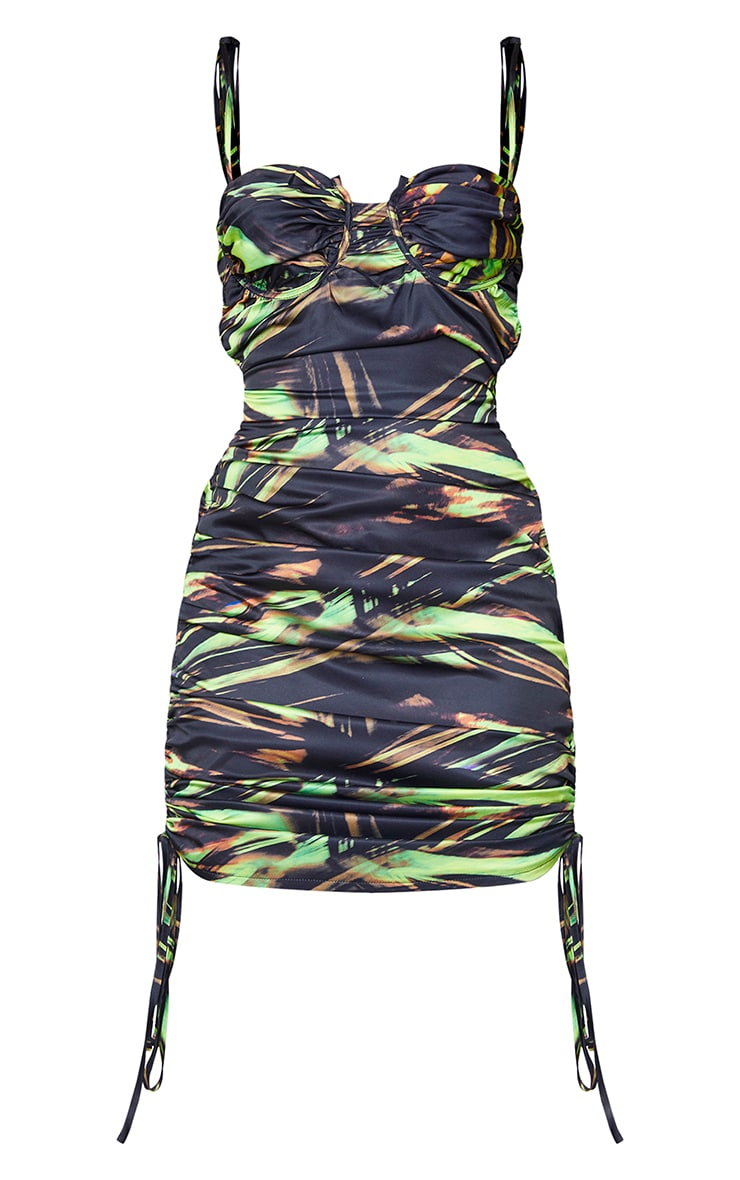 Black Abstract Print Tie Strap Ruched Midi Dress 5