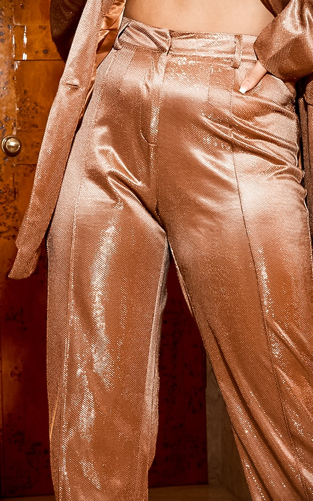 Copper Metallic Wide Leg Trouser 7
