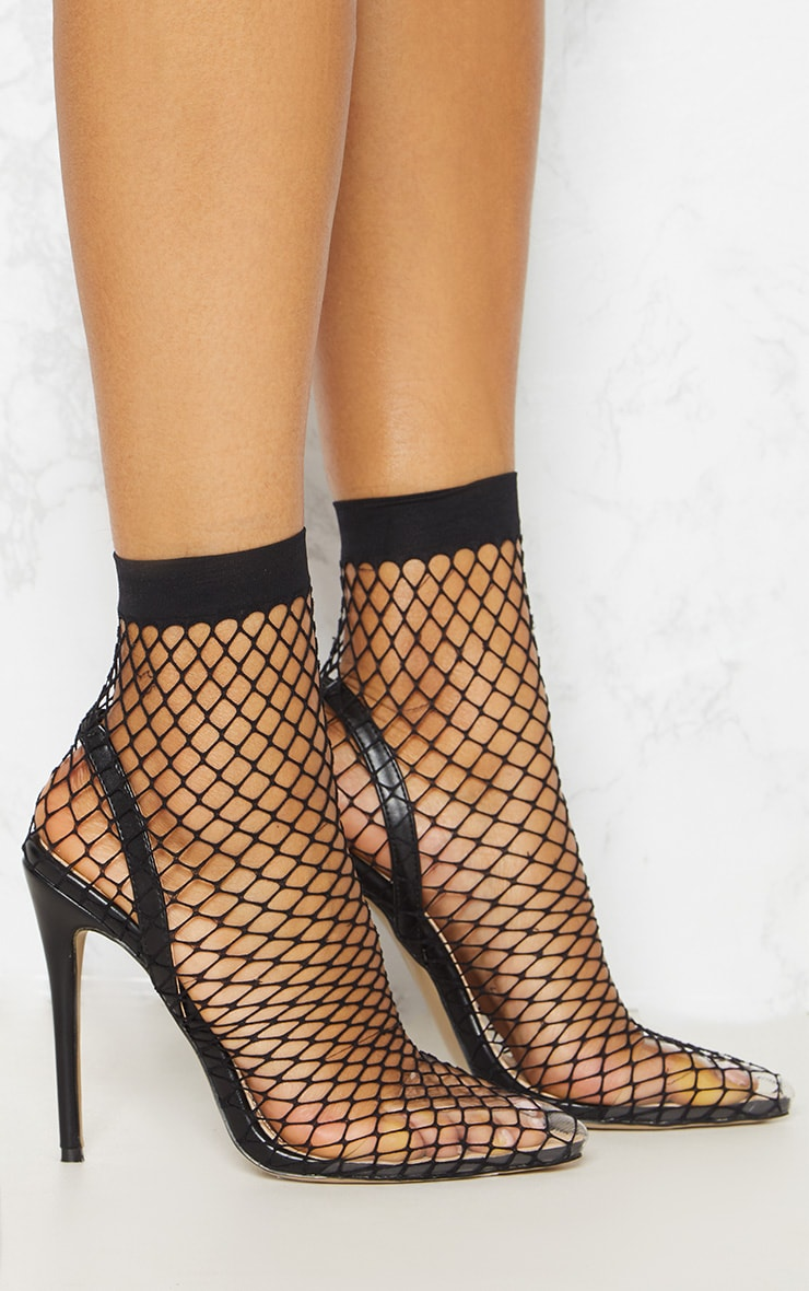 Black Fishnet Slingback Pointed Toe Heels 5