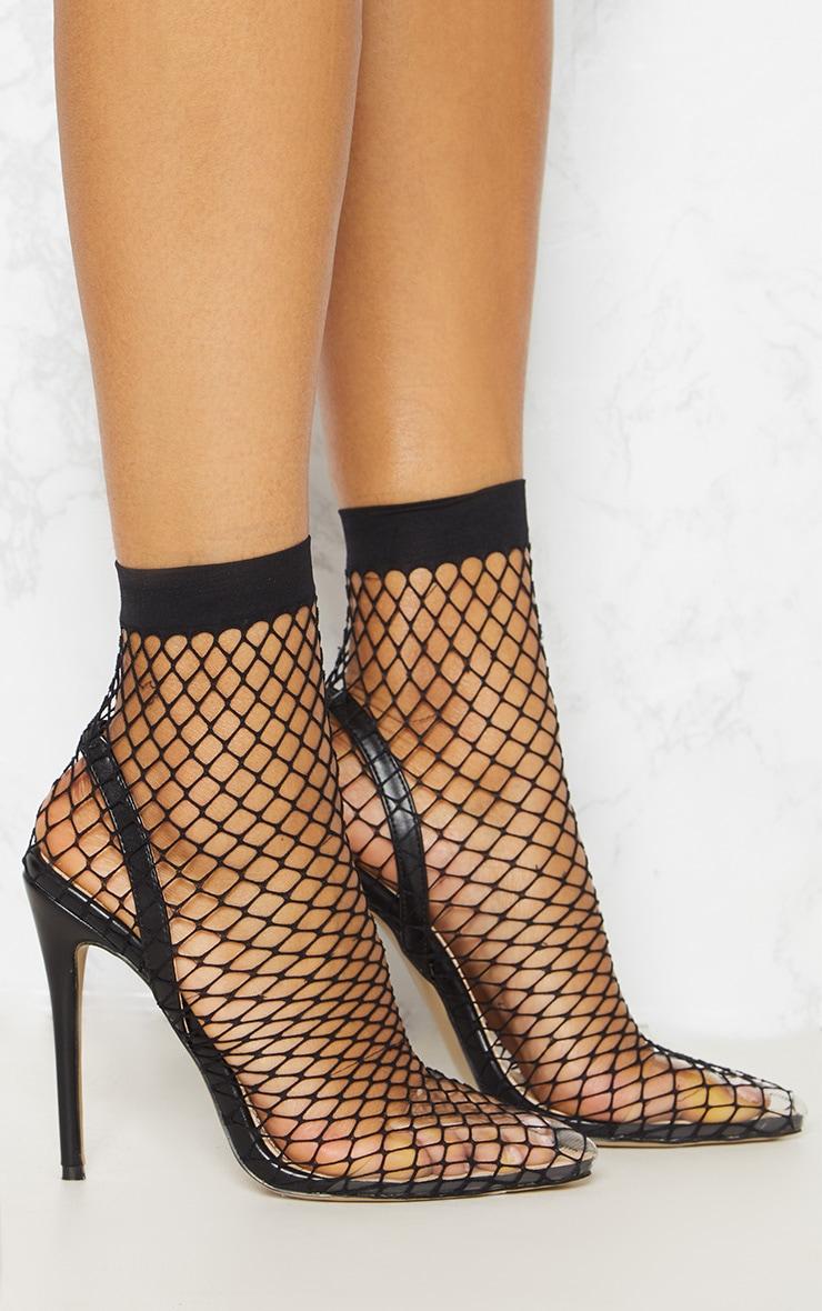 Chaussures à talons noires en résille avec bout pointu 5