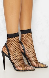 Black Fishnet Slingback Pointed Toe Heels 5