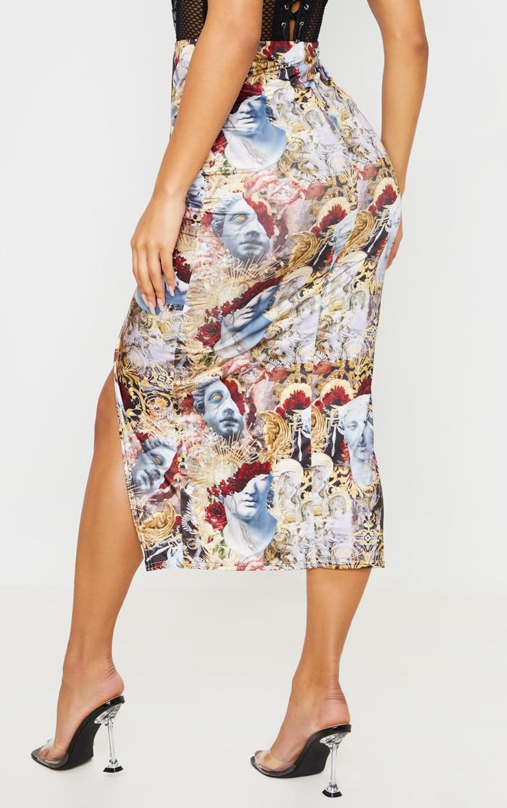 Multi Baroque Renaissance Print Drape Front Midaxi Skirt 5