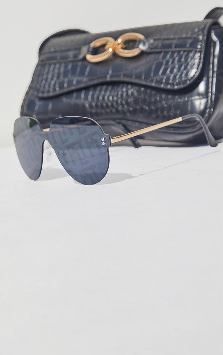 PRETTYLITTLETHING Black Frameless Round Aviator Sunglasses 3