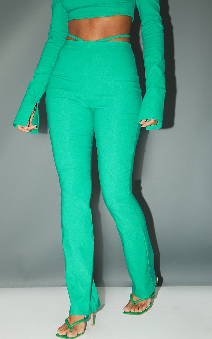 Bright Green Stretch Woven Cut Out Detail Skinny Flared Trousers 2