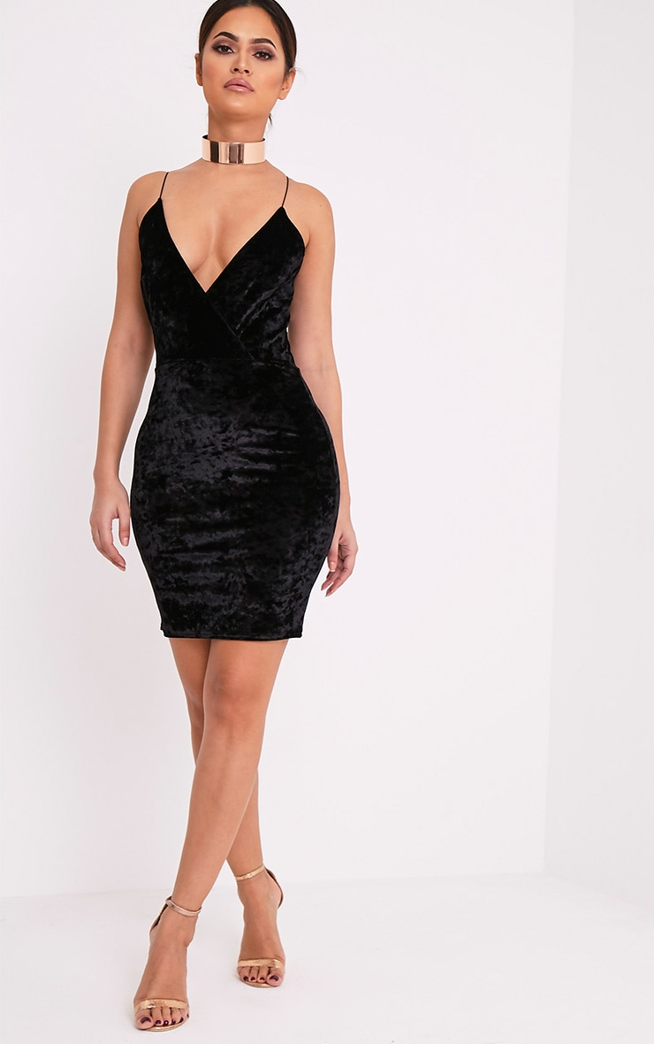 Jo Black Strappy Crushed Velvet Bodycon Dress