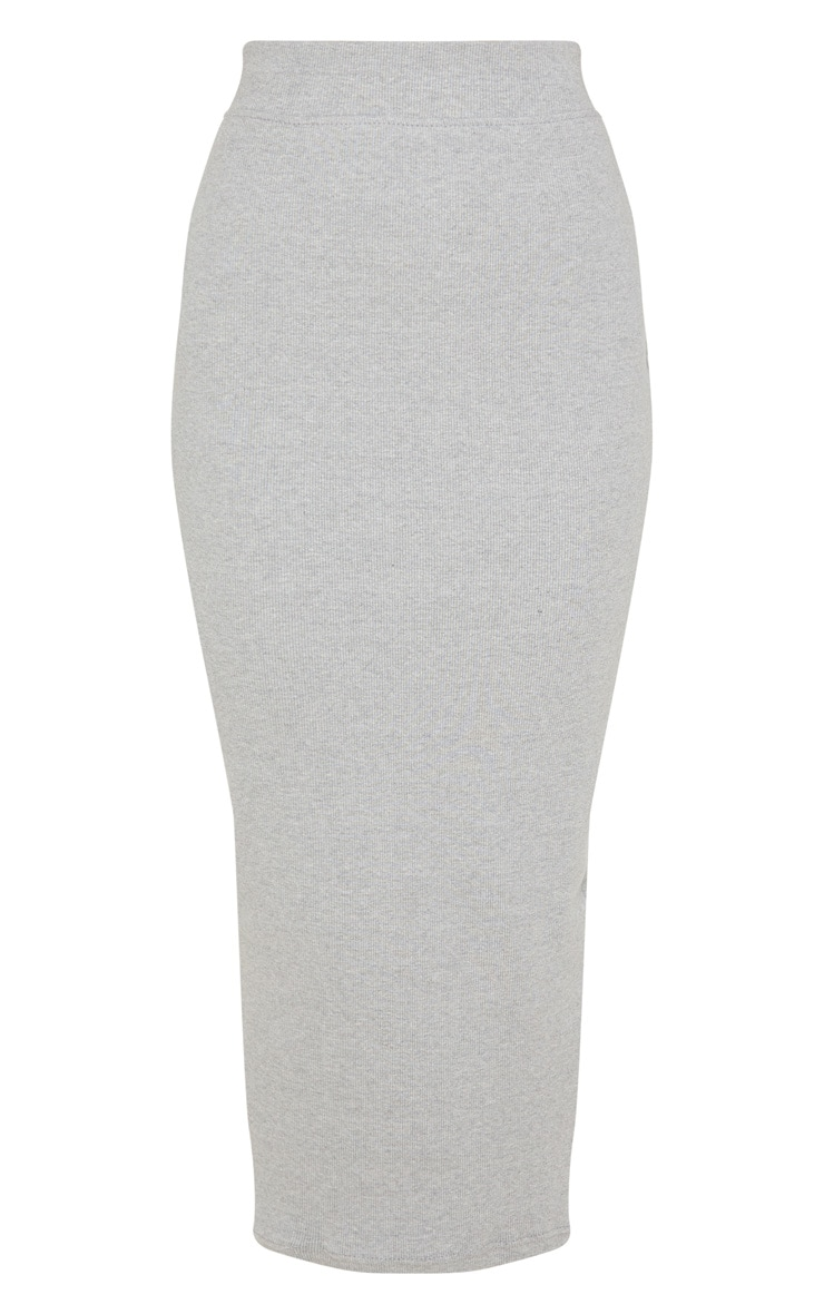 Grey Heavy Rib Bodycon Maxi Skirt 3