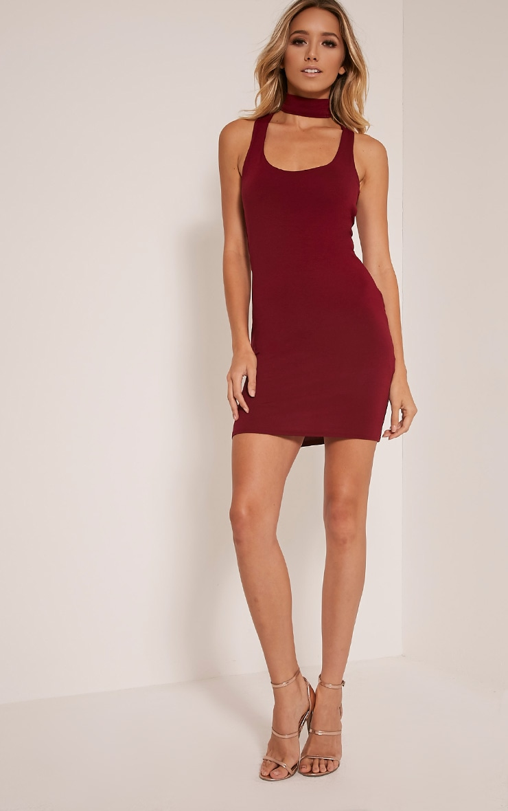 Anabella Burgundy Choker Detail Scoop Front Bodycon Dress 5