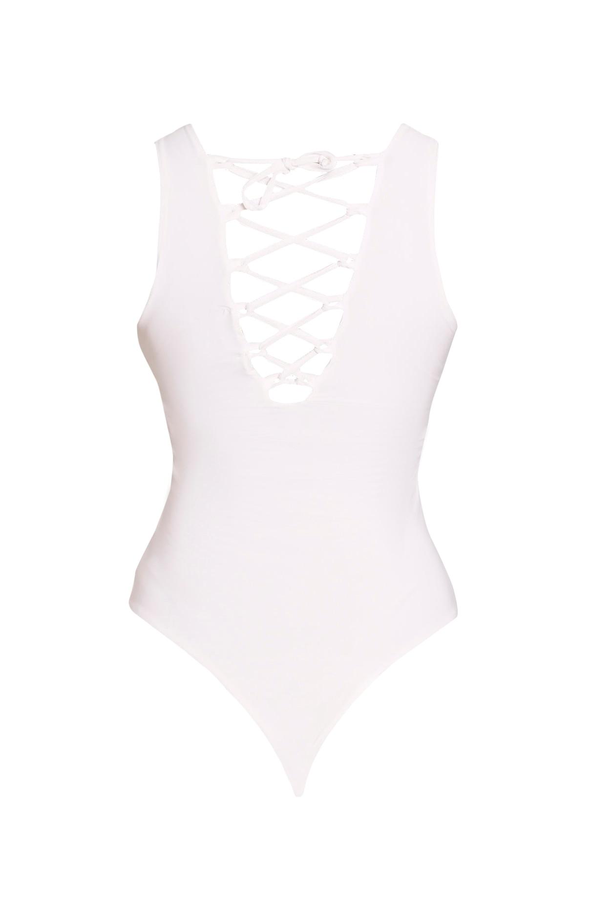 Nina Cream Lace Up Front Slinky Bodysuit 4