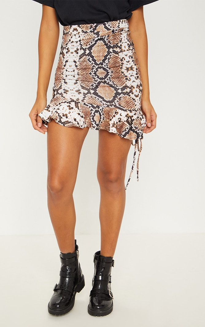 Snake Print Ruched Detail Mini Skirt 3