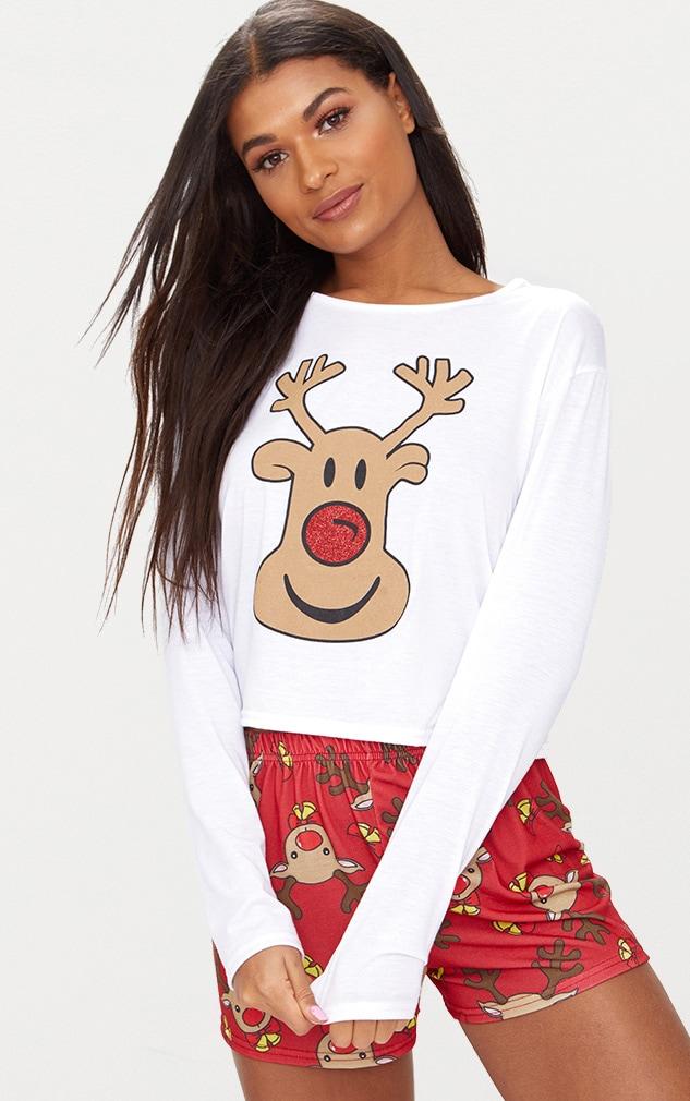 Red Rudolph Short PJ Set  1