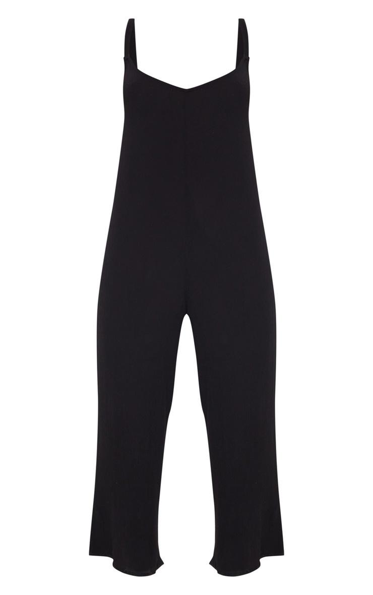 Black Woven Culotte Slouchy Jumpsuit 3
