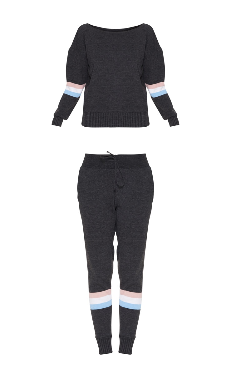 Charcoal Stripe Detail Knitted Jogger Lounge Set 3