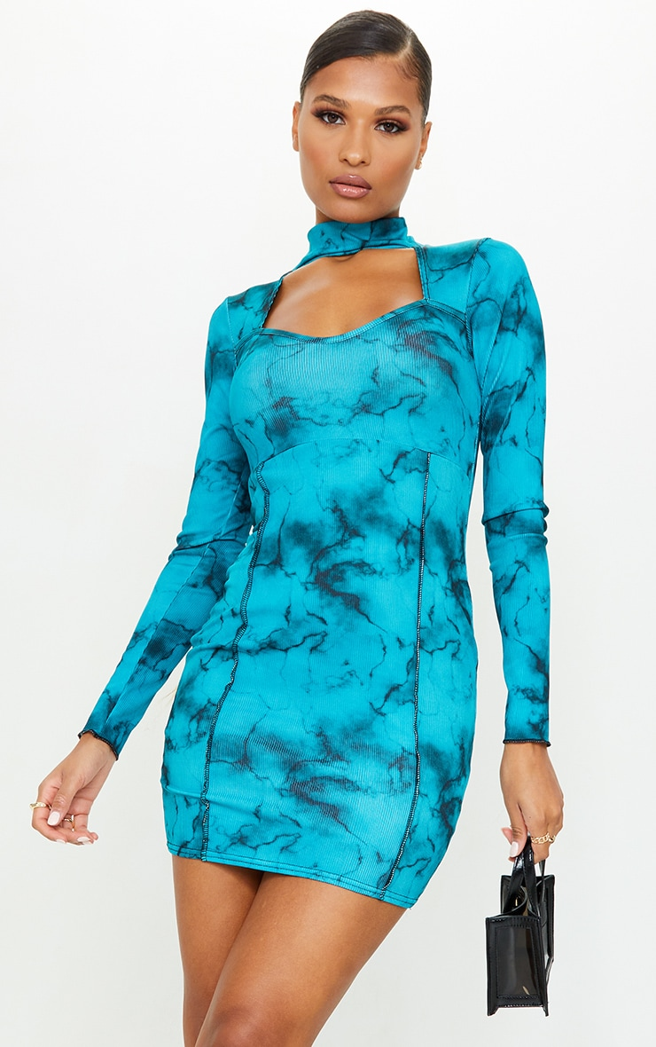 Blue Tie Dye Rib Stitch Detail High Neck Long Sleeve Cut Out Bodycon Dress 1