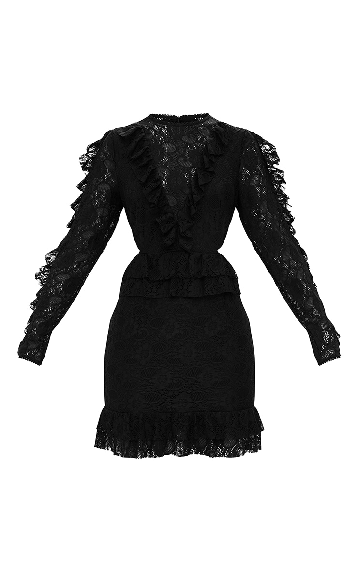 Black Lace Ruffle Detail Bodycon Dress 3