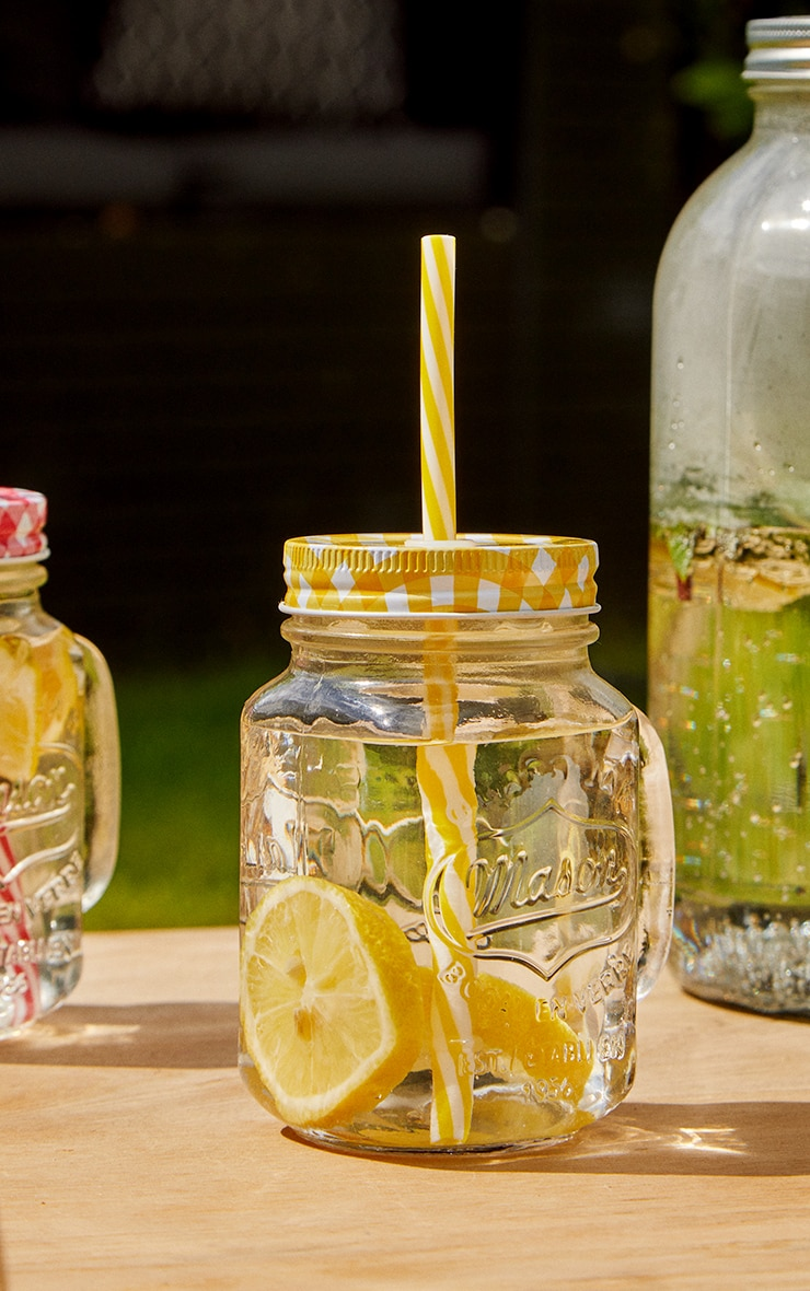 Yellow Gingham Mason Jar 2