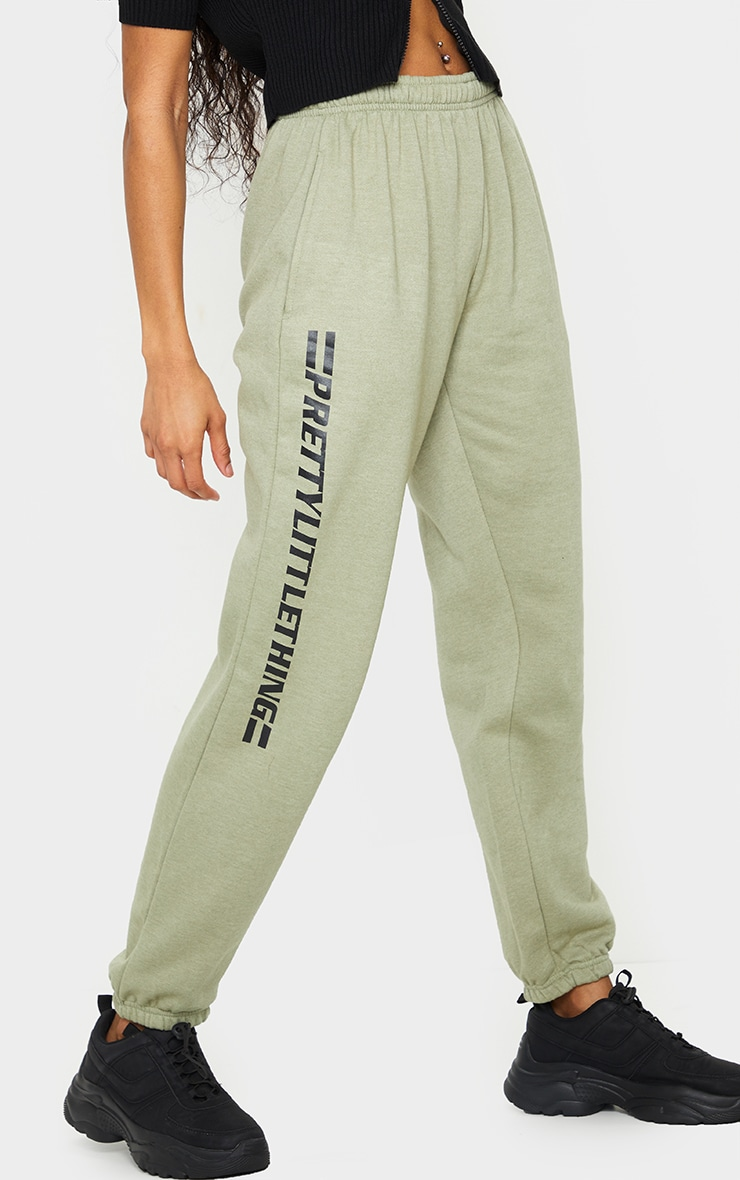 PRETTYLITTLETHING Sage Green Logo Stripe Joggers 2