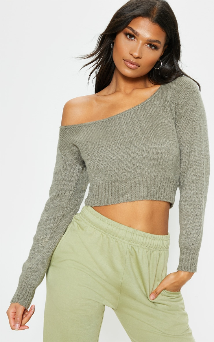 Khaki Off The Shoulder Crop Knitted Jumper 1