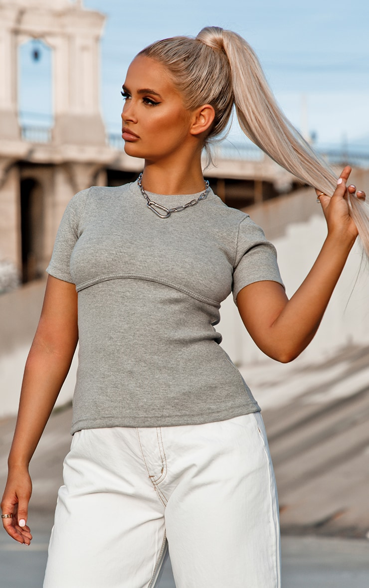 grey binding detail ribbed knit t-shirt
