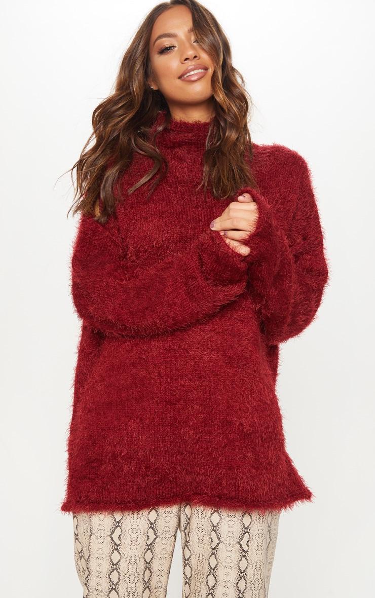 Burgundy Oversized Eyelash Sweater 1