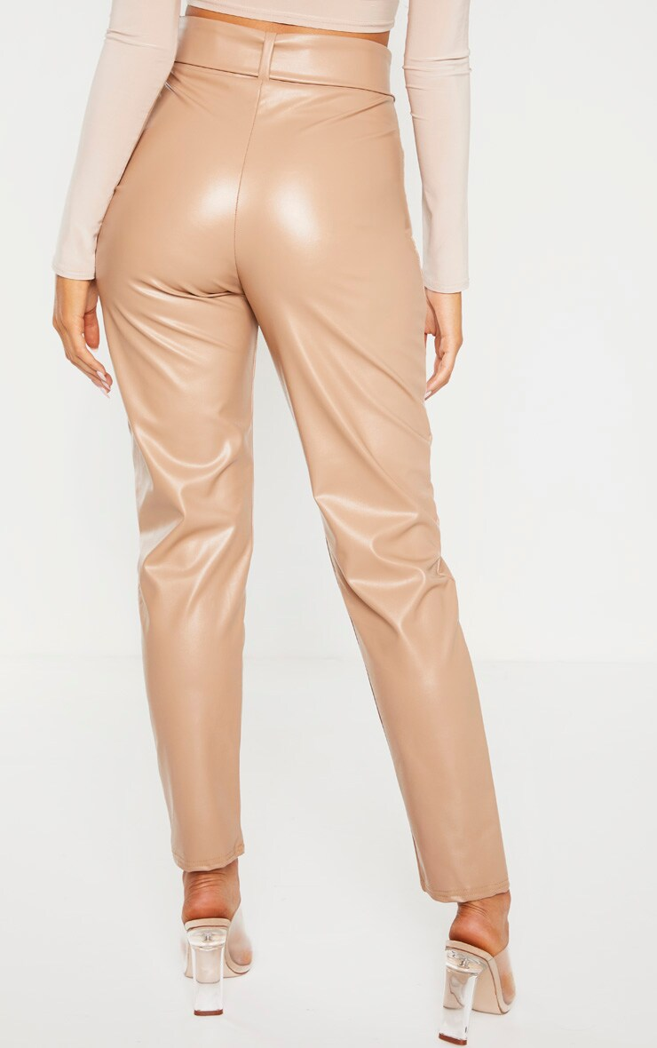 Stone Faux Leather Belted Skinny Trouser  4