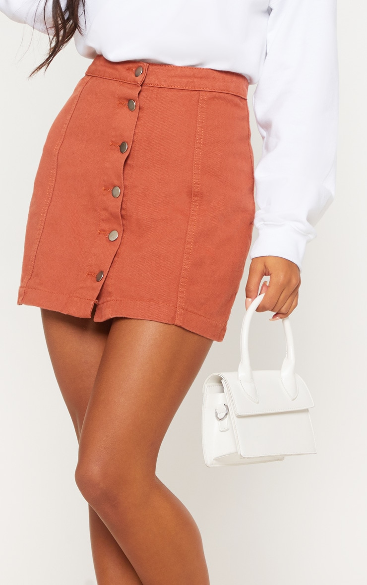Tobacco Cammie Button Through Denim Skirt 5
