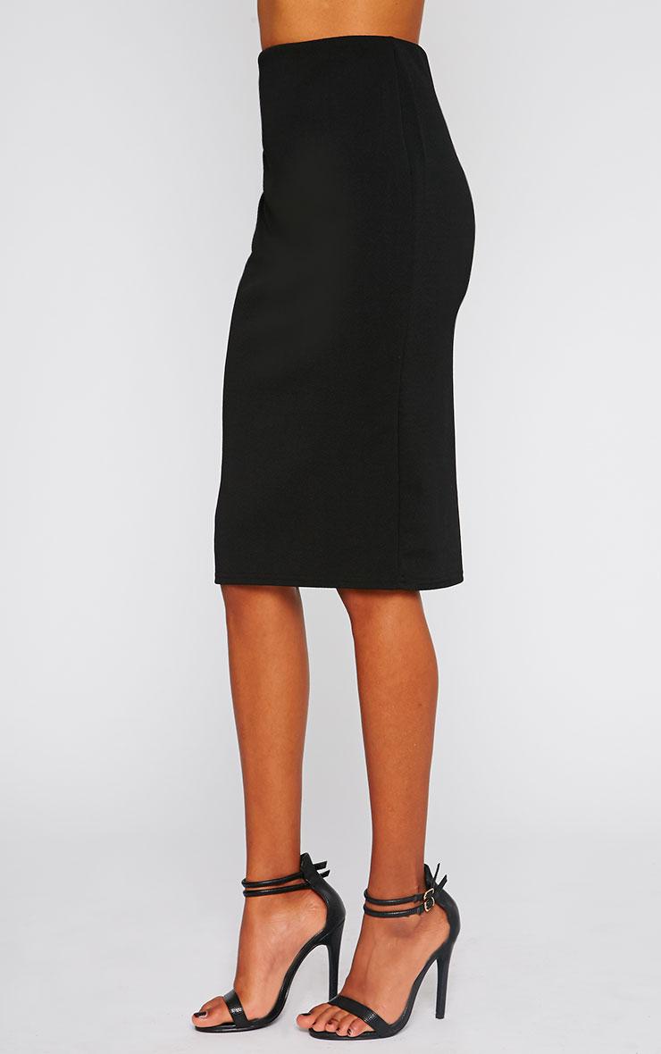 Alina Black Crepe Midi Skirt 3
