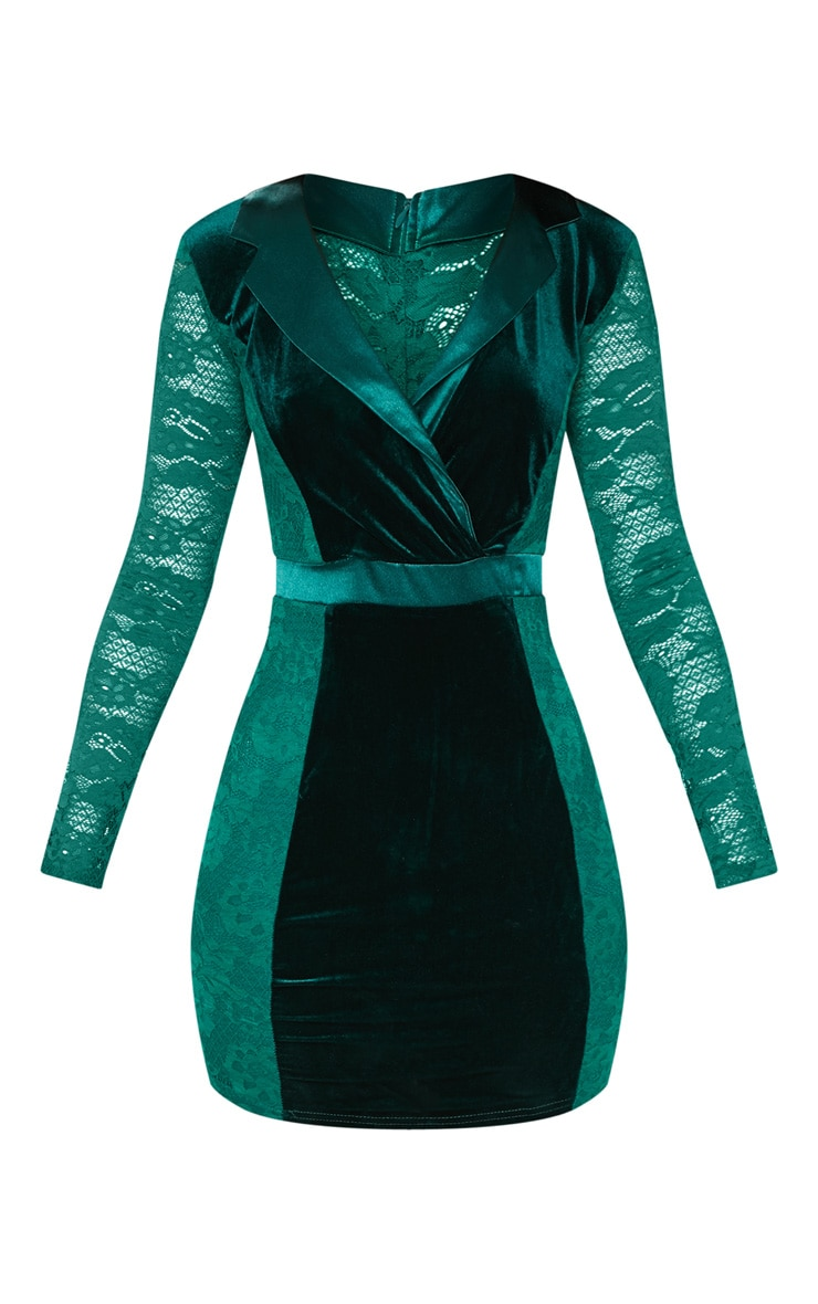 Emerald Green Lace Velvet Blazer Bodycon Dress 3