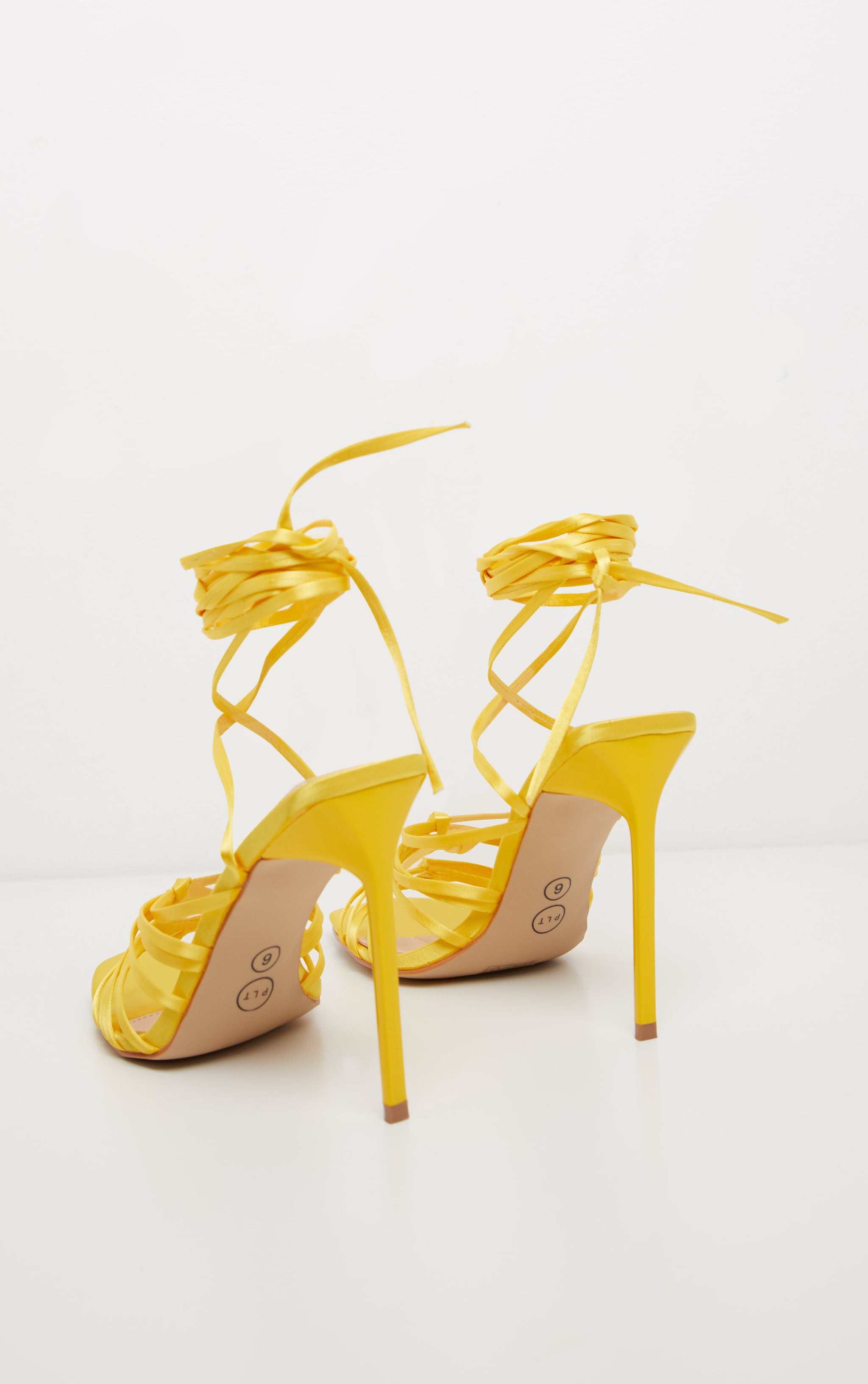 Neon Yellow Satin Strappy Lace Up Sandal  4