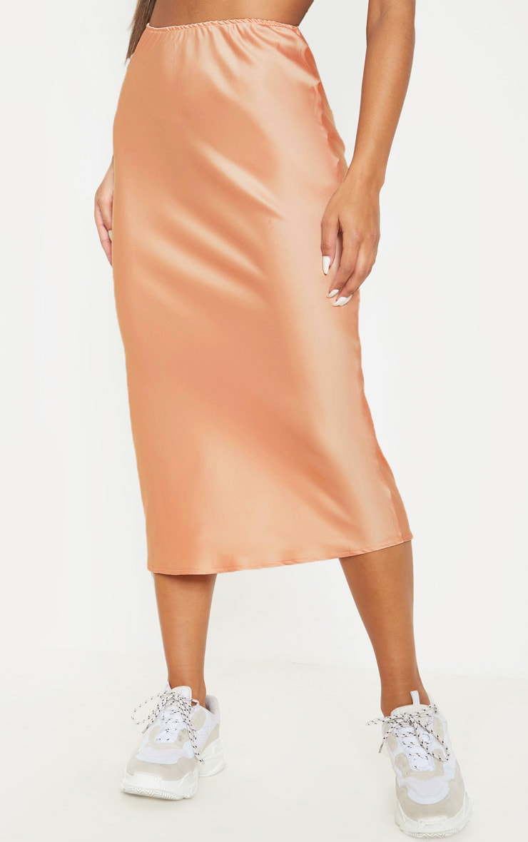 Peach Satin Midi Skirt  3