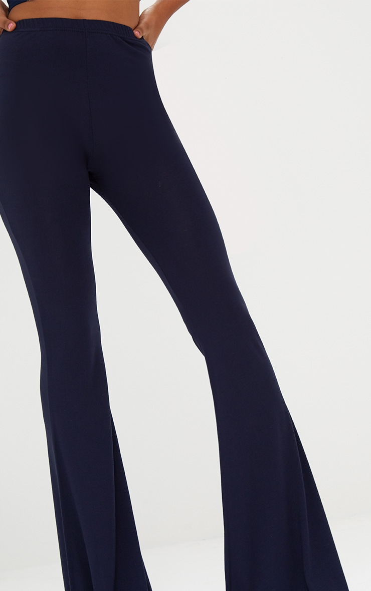Navy Basic Jersey Flared Pants 5