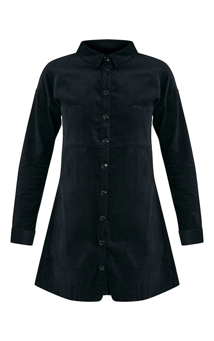 Tiyra Black Corduroy Shirt Dress 3