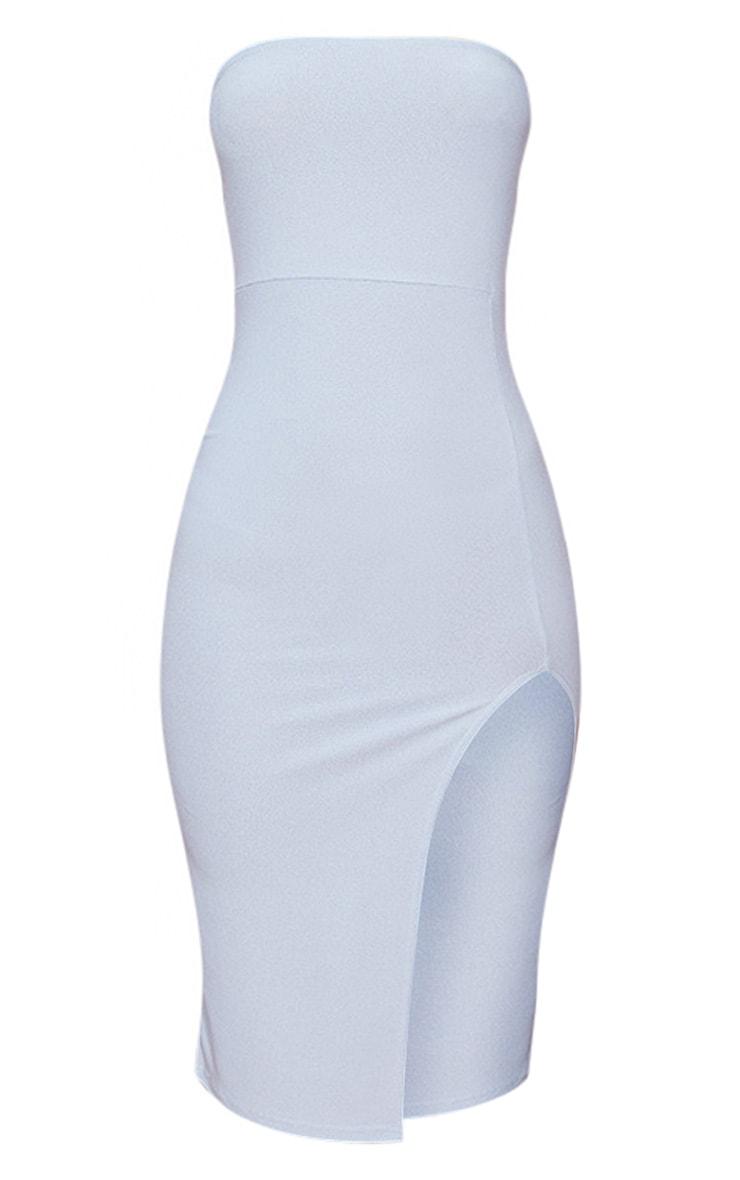 Dusty Blue Crepe Bandeau Split Front Midi Dress 3