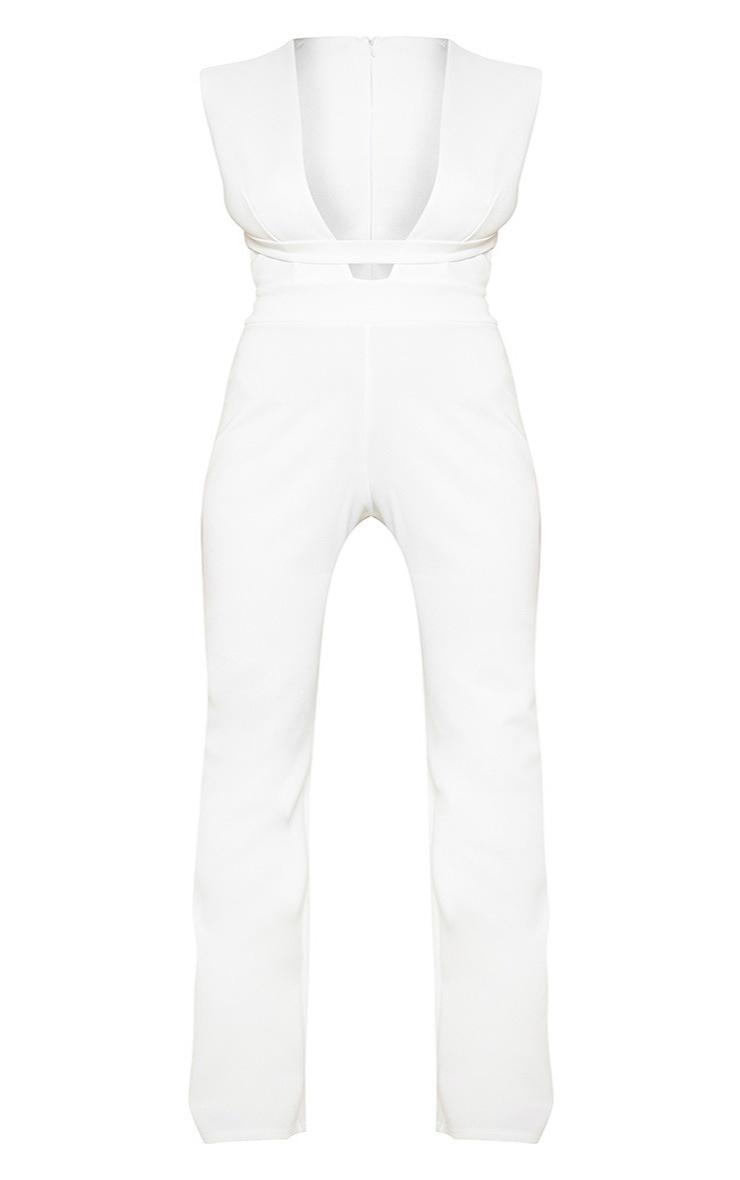 Plus White Plunge Strap Jumpsuit 3