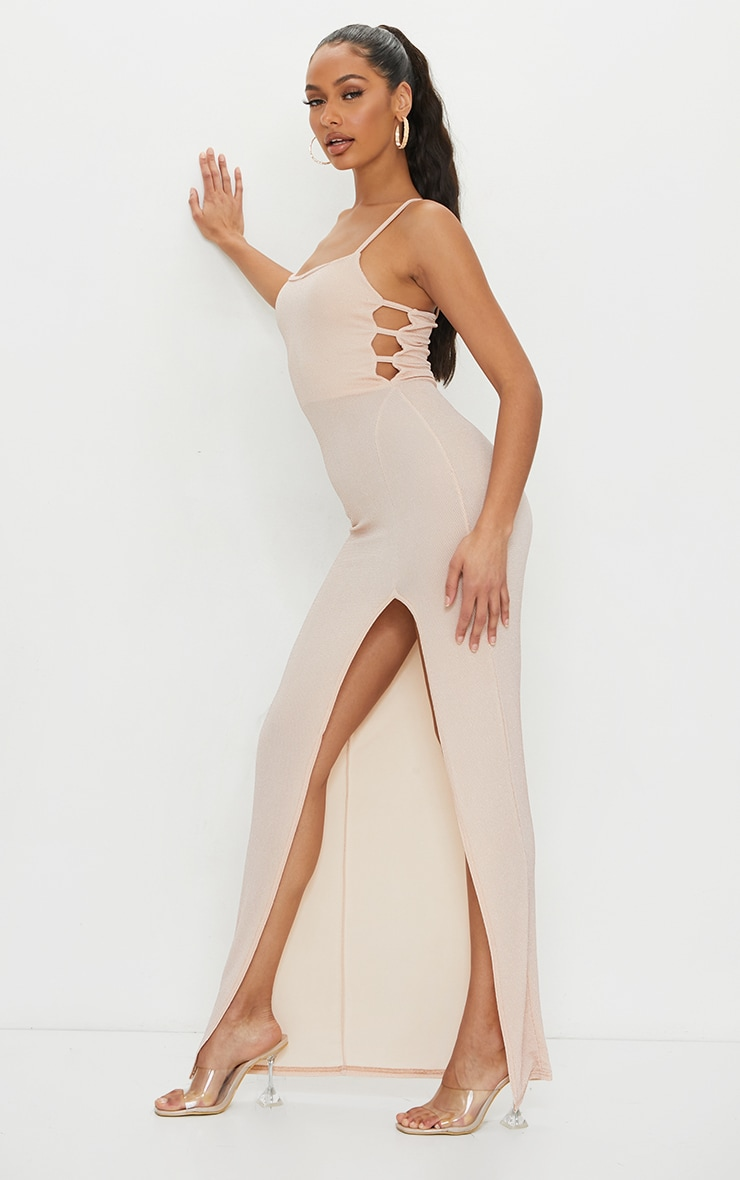 Nude Textured Glitter Split Maxi Dress 3