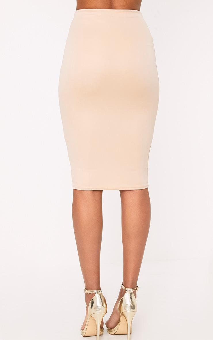 Winnie Beige Scuba Midi Skirt 4