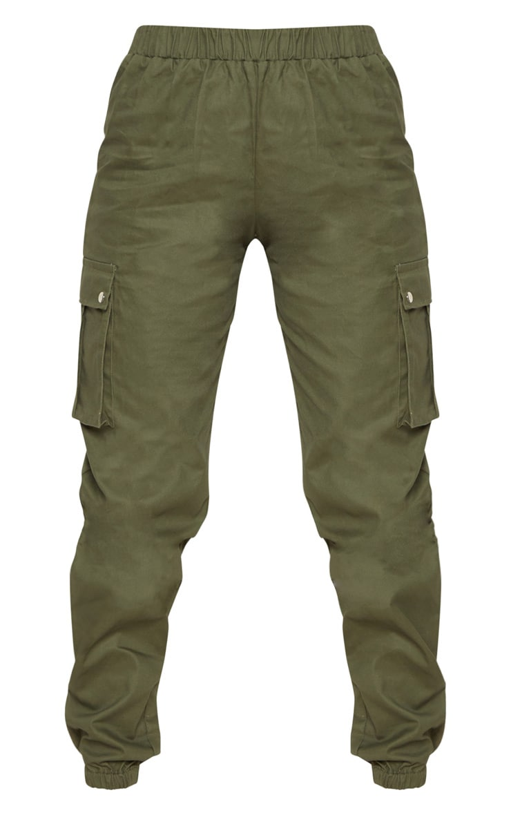 Petite Khaki Pocket Detail Cargo Trousers 3