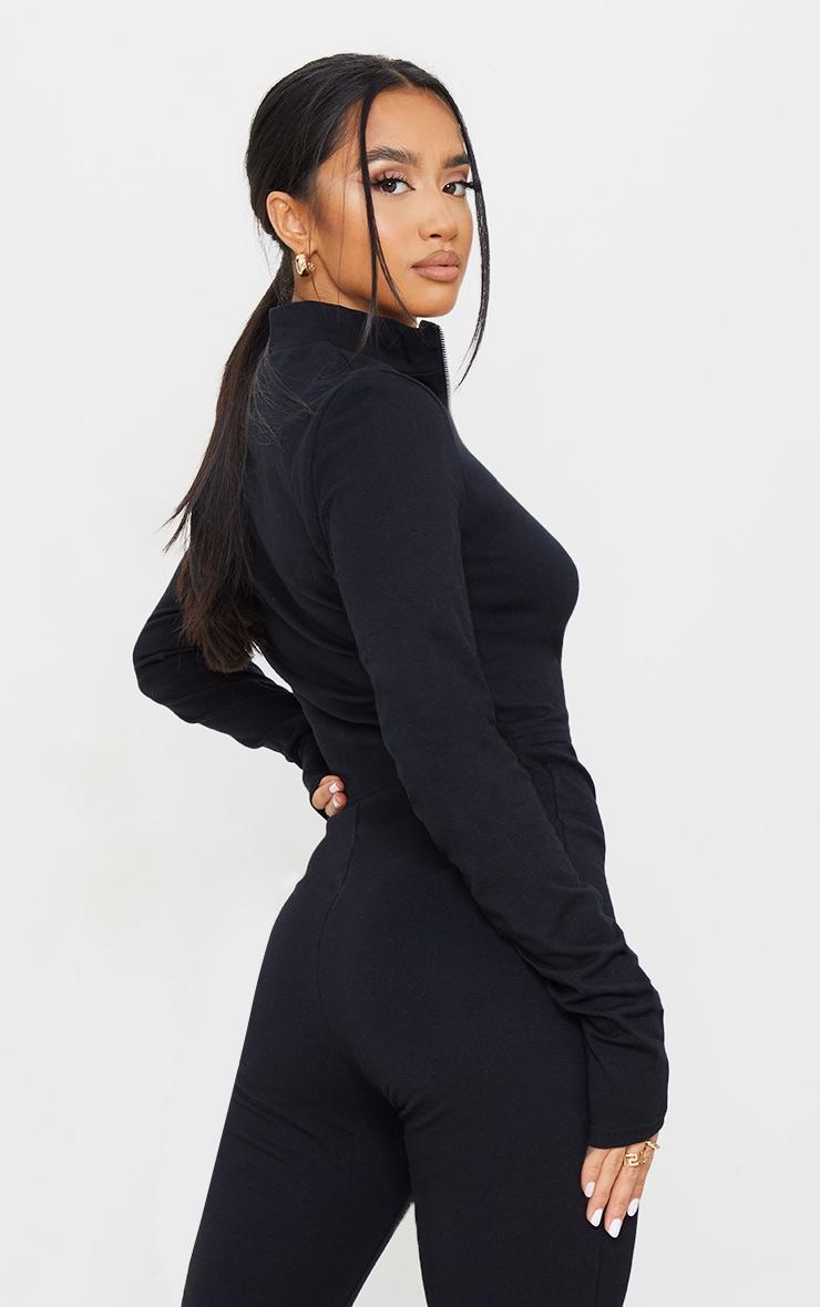 PRETTYLITTLETHING Petite Black Long Sleeve Zip Up  Crop Top 2