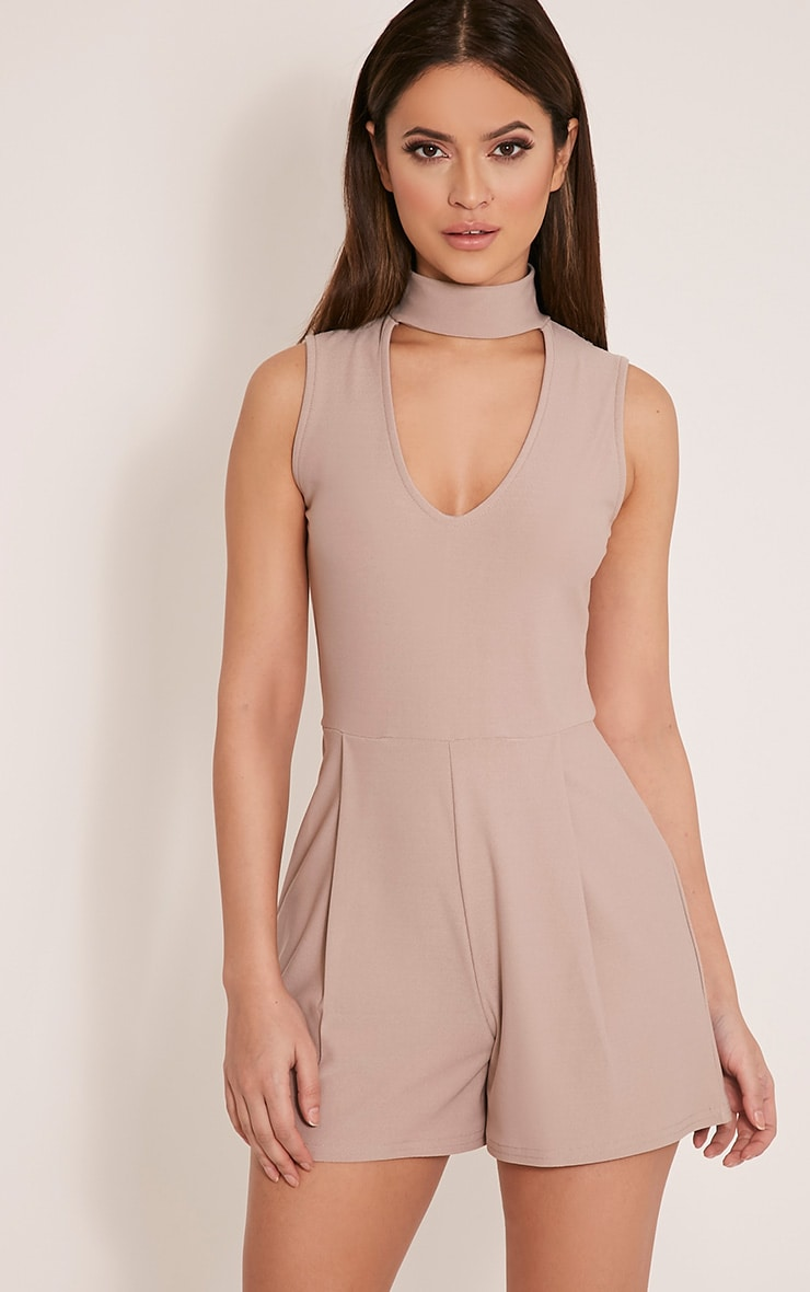 Hilery Taupe Neck Detail Plunge Playsuit 1