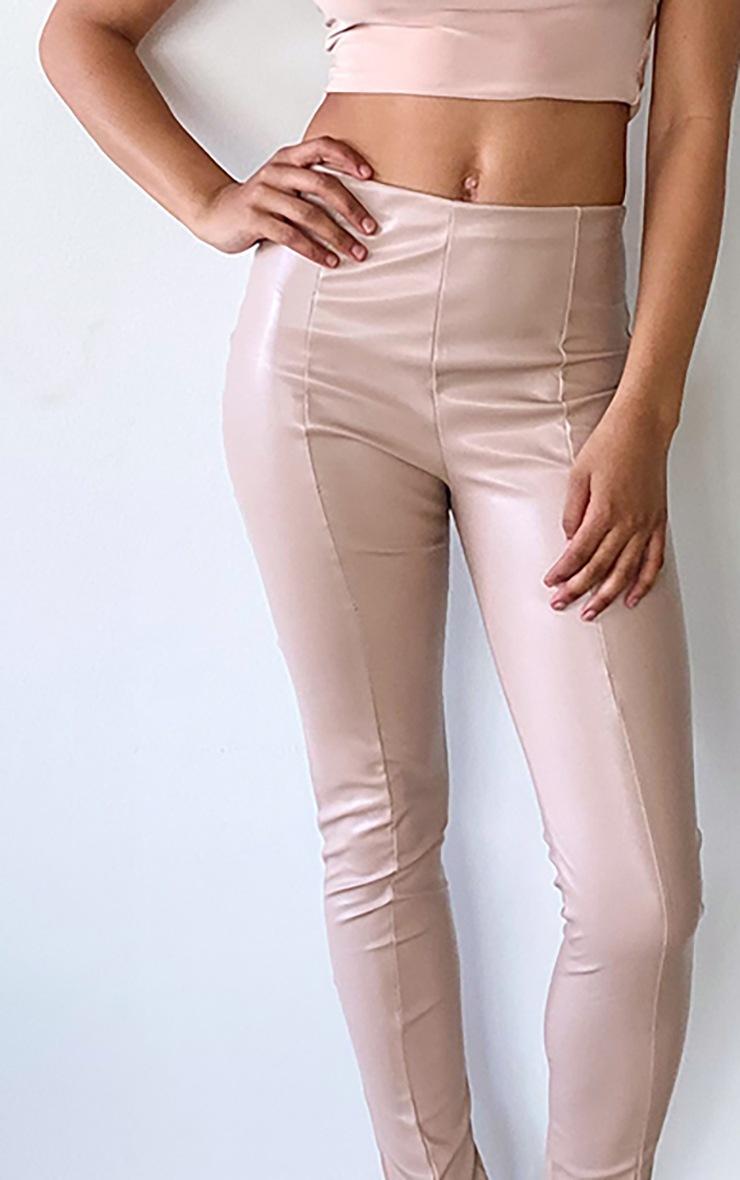 Tall Tan PU Front Seam Side Split Trousers 4